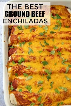 Ground Beef Enchiladas – A Quick Mexican Weeknight Meal! Easy, cheesy and saucy these Ground Beef Enchiladas are a quick and effortless dinnertime recipe that has minimal ingredients and whips up in a flash! Authentic Mexican Recipes, Mexican Food Recipes, Easy Beef Enchiladas, Ground Beef Enchiladas, Quick Beef Enchilada Recipe, Enchiladas With Flour Tortillas, Recipe For Enchiladas, Recipes With Corn Tortillas, Ground Beef Burritos