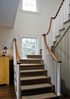 A Greek Revival Expansion - Old House Journal Magazine Staircase Handrail, House Staircase, Interior Staircase, Staircases, Winding Staircase, Staircase Ideas, Railings, Farmhouse Stairs, Farmhouse Ideas