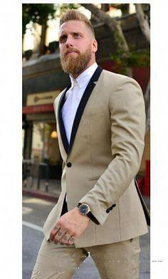 ec4c5b03099d Satin Lapel Groom Tuxedos White Jacket Black Pants #suitcombinationsmen Blazer  Suit, Suit Jacket,
