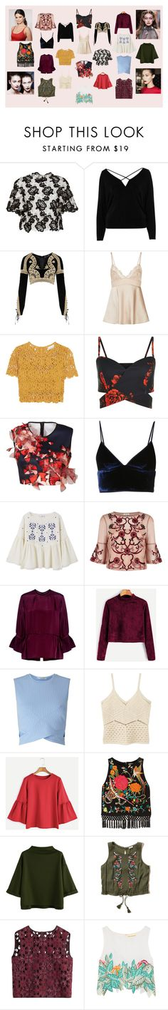 """""""Just Cute Tops"""" by dakshapathak on Polyvore featuring Monique Lhuillier, River Island, For Love & Lemons, Miguelina, Clover Canyon, T By Alexander Wang, MANGO, McQ by Alexander McQueen, Miss Selfridge and Alice + Olivia"""