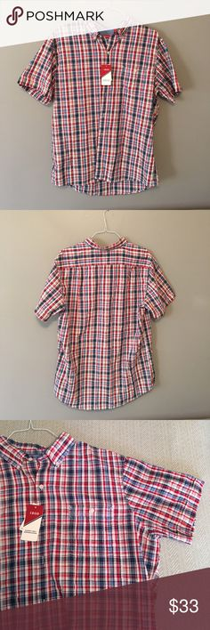 NWT Izod men's sandy bay seersucker shirt - XL NWT Izod men's sandy bay seersucker shirt - size XL. Red, white and blue plaid short sleeve shirt with left breast pocket. Great condition, brand new! No trades, feel free to make an offer! Izod Shirts Casual Button Down Shirts