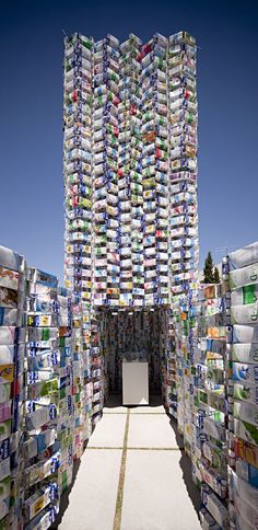 Briks Pavillion Granada Spain by Sugarplatform and CUAC :: World Record Guinness Prize of the biggest construction made of recycled materials Green Architecture, Landscape Architecture, Architecture Design, Recycled Art, Recycled Materials, Recycled House, Granada Andalucia, Granada Spain, Building Materials