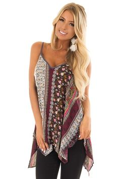 8b7ee1558d Lime Lush Boutique - Boho Print Tank Top with Back Strap Detail