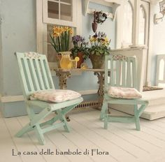 Cupcake Cottage garden chairs  1:12 dolls house by FloraDollhouse