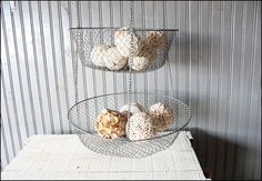 Large Three Tiered Wire Baskets // Wall Hanging by buffalowinter, $28.00