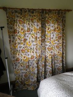 Pair Vintage Long Cotton Curtains In Jacobean Floral Design On Fawn