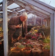 J. R. R. Tolkien in his Greenhouse.