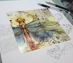 Esto es sorprendente y Brillante y hermoso! Watercolor And Ink, Watercolor Paintings, Watercolors, Illustration Art, Illustrations, Dragonfly Art, Dragonfly Drawing, Insect Art, Wow Art