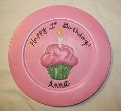 A custom birthday plate! Pen included so your guests can sign the edge of the plate! You could always bring this as a gift/card for everyone to sign. Perfect to hang on the wall or place in a plate holder. What a special way to remember a SPECIAL day!!!!!    FOR DECORATIVE PURPOSES ONLY!    Convo me and we can talk colors! http://www.etsy.com/shop/familymosaic $26