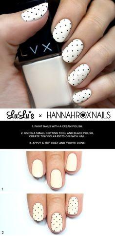 Cream and Black Polka Dot Nail Tutorial - 16 Springtacular Nail Art Tutorials You Can Totally DIY | GleamItUp
