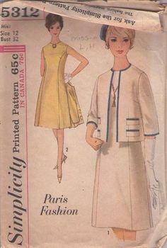 MOMSPatterns Vintage Sewing Patterns - Simplicity 5312 Vintage 60's Sewing Pattern FAB Mad Men Paris Fashion Princess Seams Sleeveless Day Dress MISSING JACKET Size 12