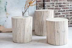 "We can't get enough of these gorgeous stumps. Made from solid, upcycled salvaged Spruce and Pine from our home province of British Columbia, these must-have natural accessories are available in 16"", 18"" & 21"" heights."