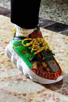 x Versace Chain Reaction Sneakers in Green/Brown Latest Mens Fashion, Mens Fashion Shoes, Fashion Accessories, Diy Fashion, Fashion Clothes, Womens Fashion, Milan Men's Fashion Week, Fashion Trends, Versace Sneakers