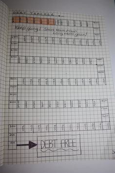 Bullet Journal - Debt Tracker. Each block represents £100 paid off when coloured. Space to add date when each block is achieved and motivating quotes between the lines!