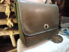 Handmade Leather 3 tone Earthy Green Large Purse shoulder or crossbody by…
