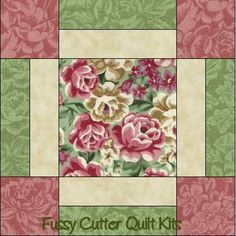 Dusty Rose Cream Sage Floral Flowers Fabric Easy Pre-Cut Quilt Blocks Top Kit