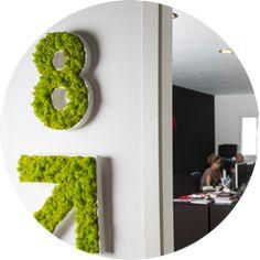 """Señalización y Logos """"VEGETAL en 3D"""" todo tipo de letras y símbolos con musgo para el suelo o la pared, no requieren de riego y sirve para espacios interiores."""