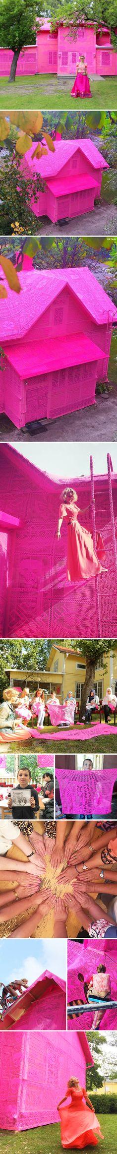 pink houses (crochet) by olek <3