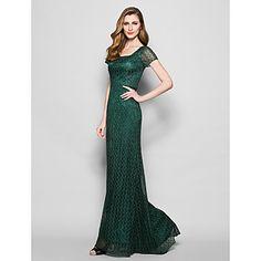 Sheath/Column Plus Sizes / Petite Mother of the Bride Dress - Dark Green Floor-length Short Sleeve Lace – USD $ 139.99