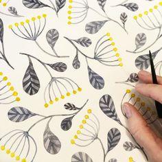 And finished! #pattern #floral #floralpattern #yellowandgrey #greyandyellow…
