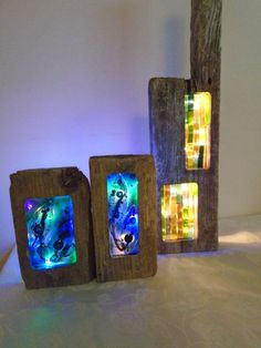 Driftwood and fused glass mood lights by watsonfurniture on Etsy