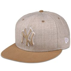 Mens-New-Era-Tan-New-York-Yankees-Heather-League-Basic-59FIFTY-Fitted-Hat 7e7dc2b50519