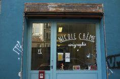 bonnefrite / peinture en lettres pour l'atelier / magasin de nicole crème à Marseille