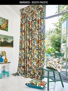 Warwick, South Pacific is a beautiful collection of botanical prints inspired by the islands of the Pacific; Moorea and Tonga. Interior, Curtain Fabric, Prestigious Textiles, Coastal Living, Printed Shower Curtain, Contemporary Interior, Home Decor, Curtains, Furnishings
