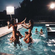 happy, friends, pool