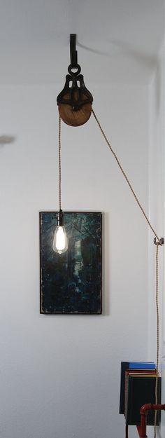 Antique Cast Iron & poulie lampe luminaire par PhotonicStudio