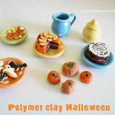 Polymer clay miniature treats for Halloween Polymer Clay Halloween, Polymer Clay Animals, Polymer Clay Miniatures, Halloween Treats, Mini Cupcakes, Desserts, Food, Holidays, Studio