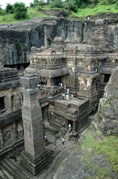 Ellora Caves in India - these are so cool cuz they were actually carved out of a. Ellora Caves in India – these are so cool cuz they were actually carved out of a big mountain Places Around The World, Oh The Places You'll Go, Places To Travel, Places To Visit, Around The Worlds, Caves In India, India Destinations, India Travel, Incredible India