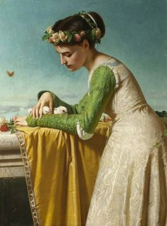 An Italian Girl with Doves. 1866. Raffaello Sorbi