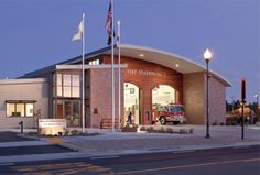 This new fire station was built using environmentally sustainable materials, like denim insulation, linoleum, FSC-certified wood products, and cool roofing materials.