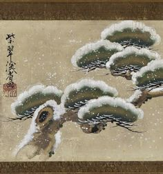 Detail. Snow-laden Pine Boughs. Japanese scroll (mounted on panel). 尾形乾山 Ogata Kenzan (1663-1743). Edo period, 18th century. Color and gold on paper. Freer.