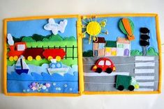 Items similar to Transport quiet book page Travel toy Educational Games Busy Book Children's Activity Book First Book Toddler For boy Development book on Etsy Kids Activity Books, Book Activities, Activity Board, Felt Crafts, Diy Crafts, Diy For Kids, Crafts For Kids, Quiet Book Patterns, Felt Quiet Books