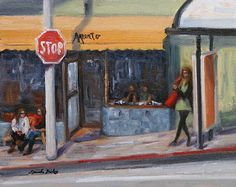 Tomiko Bailey - Waiting for the Bus on Potrero Hill. San Francisco Ca.- Oil - Painting entry - January 2011 | BoldBrush Painting Competition