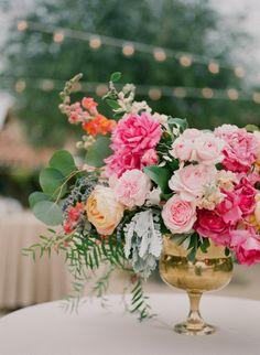 Vibrant Open Air Wedding in Santa Barbara - Photography: Diana Mcgregor Photography – www.dianamcgregor… Read More: www. Low Wedding Centerpieces, Pink Centerpieces, Wedding Flower Arrangements, Wedding Bouquets, Wedding Decorations, Wedding Shoes, Floral Arrangement, Peonies Centerpiece, Purple Bouquets