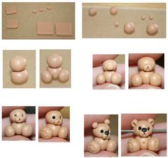 how to make a teddy bear by Tina T.'s Polymer Clay, via Flickr