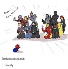 Read the Avengers from the story meeting the Avengers by (ultimate-spiderman) with reads. Avengers Humor, Marvel Avengers, Marvel Jokes, Marvel Comics, Heros Comics, Funny Marvel Memes, Dc Memes, Marvel Heroes, Baby Avengers