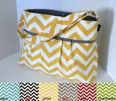 The Monterey Diaper Bag Medium - Custom Design Your Own -  In Chevron - Adjustable Strap and Elastic Pockets. $75.00, via Etsy.