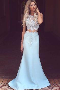 Blue Prom Dresses #promdress Long Prom Dresses #longpromdresses Lace Prom Dresses #lacedress  prom dresses Two piece #promdressesTwopiece