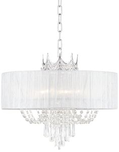 Hallie Silver Draped Crown Crystal Chandelier Wide Modern Fixture for Dining Room House Foyer Kitchen Island Entryway Bedroom Living Room - Vienna Full Spectrum Luxury Chandelier, Bronze Chandelier, Globe Chandelier, Chandelier Lighting, Foyer, Entryway, I Saw The Light, Light Decorations, Clear Crystal