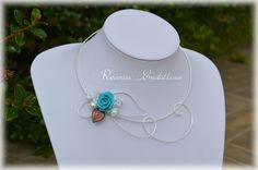 Parure mariage CAMELIA collier et bracelet - fil plaqué argent, roses en…