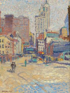 """The Singer Building from Lower Broadway,"" Edwin Hawley Hewitt, oil on canvas, 24-1/4 x 18-1/4"", private collection."
