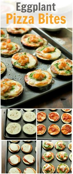 These delicious and healthy Eggplant Pizza Bites are low-carb, gluten-free and very flavourful!! It is made with homemade tomato sauce, mozzarella and spinach! primaverakitchen.com