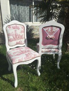 Chaise restaurée toile de Jouy vichy rouge noeud dentelle Campagne Shabby Chic : Meubles et rangements par monautrefois