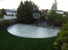 Finally the construction of the backyard basketball court is completed with Pro Dunk Platinum Basketball System.