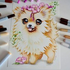 Poms are soooo cute! Even better I got commissioned to draw one And now let this little fella brighten your Thursday! What does the Pom say? Cute Animal Drawings, Kawaii Drawings, Art Drawings Sketches, Cute Drawings, Copic Marker Art, Cute Art, Amazing Art, Anime Art, Artsy
