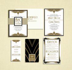 Art Deco Fans Invitation with Panel Pocket